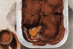 Choc-caramel self-saucing pudding
