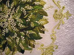 Quilt, lilies of the valley -- International Quilt Festival - Houston  Viewer's choice winner - detail.