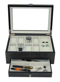 fcf39372f Grey Lacquered Wood 8 Watch Cufflink Case Ring Storage Organizer Jewelry Box