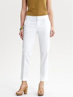 White crop pants are comfy, and look fantastic paired with a gold top!