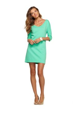 Lilly Pulitzer Eliza Dress, the most versatile cotton jersey dress you'll ever find. Wear with heels and jewelry for a night out, wear as a cover-up to the beach with sandals, pair with tights and boots for cooler weather...the styling possibilities of this three quarter sleeve dress are endless. Available in mint, coral punch and navy. $98.00
