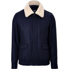 A.P.C. Wool and Shearling Jacket (7.430 ARS) ❤ liked on Polyvore featuring men's fashion, men's clothing, men's outerwear, men's jackets, jackets, nick hudson, mens wool outerwear, mens wool jacket and mens shearling jacket