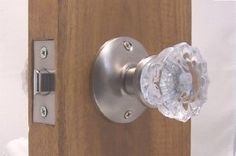 """A very affordable Fluted Crystal Glass & Antique Brass Passage Door Knob Sets for Modern Doors+includes Our Original Wood Adapters to install in modern pre-drilled doors or replacement set for older doors. by Avery. $39.95. A perfect duplicate if the early 1900s Depression Crystal Passage knobs, we have added a hand made wood adapters to allow you to fit in per-drilled doors with standard 2-3/8, see attachment,.  2-3/4"""" back set available on request. This set will arrive w..."""