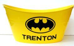 Personalized Batman Storage Tub / Easter Basket / Bucket / Birthday Party Gift Basket. $10.00, via Etsy.