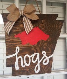 Arkansas hogs Wooden Door Hanger by arhjohnston on Etsy