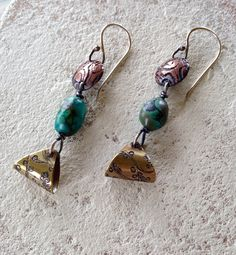 Julianne Van Buskirk Etched copper and brass, Sterling silver and turquoise