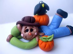 Autumn scarecrow with a pumpkin and a crow by DebbiesClayBabies, $10.00
