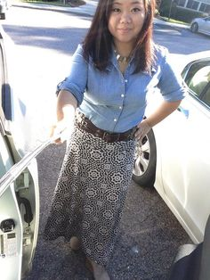 Paired my LuLaRoe maxi skirt with a fall staple, the chambray button up shirt.