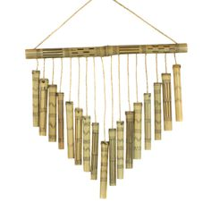 This Chevron Bamboo Wind Chime features burned and etched bamboo pieces that make a soothing sound as they click softly against one another. Made in Cameroon. Bamboo Wind Chimes, Diy Wind Chimes, Mobiles, Art Shed, Bamboo Canes, Bamboo Architecture, Wind Spinners, Diy Projects To Try, Suncatchers