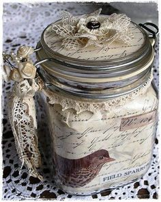vintage glasburk   vintage alterded jar
