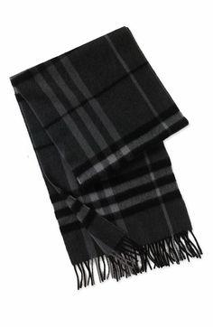 Burrberry Giant Check charcoal wool scarf Burberry Scarf Men 129aba2da21f
