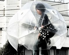 Surely the most protective umbrella, but good luck speaking to anyone... Bubble Umbrella, Under My Umbrella, Large Umbrella, Dome Umbrella, Funny Umbrella, Clear Umbrella, Rainy Day Fun, Rainy Days, Rainy Weather