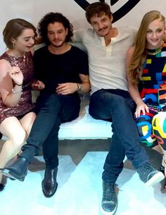 "Fantastic Group shot of (L-R) Maisie Williams (""Arya""), Kit Harington (""Jon Snow""), Pedro Pascal (""Oberyn Martell"") and Sophie Turner (""Sansa Stark Lannister"")"