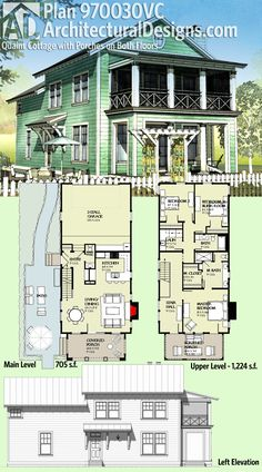 Architectural Designs House Plan 970030VC is a quaint cottage with porches on both floors. It gives you over 1,900 square feet of heated living space and at 24'-wide is perfect for a narrow lot. Ready when you are. Where do YOU want to build?