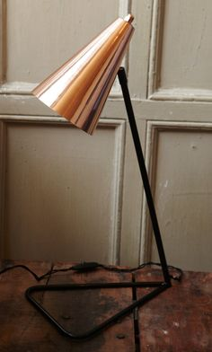 modernist Danish table lamp in copper from Plumo