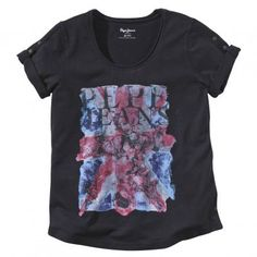 Het Londense merk PEPE JEANS pronkt met zijn origine op dit T-shirt met vintageaspect en korte mouwen met omslag.