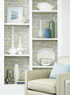 Makisu Wallpaper in Lime and Smoke design by Carey Lind for York Wallcoverings