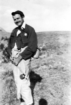 Ernest Hemingway geared up for fly fishing