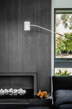 Studio You Me Brighton Residence Hana Hakim + Kestie Lane Est Magazine Contemporary Fireplace, Wood Fireplace, Wood Paneling, Fireplace Design, Wall Panels, House Interior, Modern Fireplace, Timber Panelling, Simple Bedroom Decor