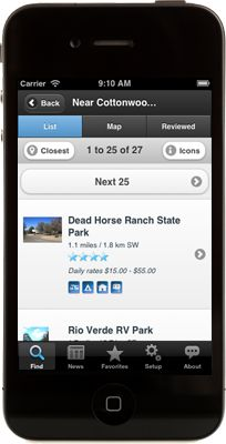 Camp Finder is an iPhone and Android app from CampingRoadTrip.com that makes it easy to search for campgrounds, RV parks and resorts while you are on the road.