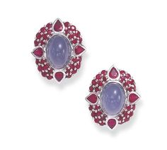 A PAIR OF BLUE CHALCEDONY AND RUBY EAR CLIPS