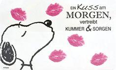 """DANKE KARINA Peanuts - Frühstücksbrettchen Snoopy - """"Kuss am Morgen vertreibt Kummer und Sorgen"""