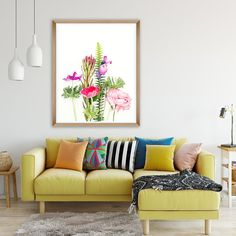 Bouquet No.270  A special edition floral print with beautiful Anemone and Lisianthus flowers. A fresh summer print, perfect for your beautiful home.