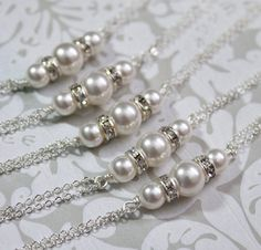 Bridal Bridesmaids Swarovski White Pearl Chain Bracelet, Bridesmaids Gift (Available in Other Colors)