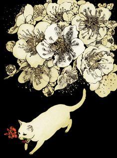 ♞ Artful Animals ♞ bird, dog, cat, fish, bunny and animal paintings - Midori Yamada「花をはこぶ」