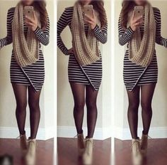 Black Striped Irregular Long Sleeve Round Neck Above Knee Slim Stylish Dress