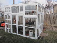 greenhouse made from reclaimed windows. My first project of the year. I have the windows!