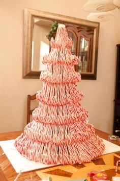 DIY Candy Cane ChristmasTree ~ amazing with lots of pictures and instructions ~ kids/grands will love! #diy #craft #tutorial