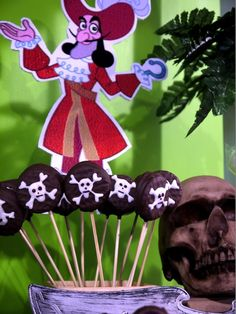Awesome skull and crossbones cookie pops at a Jake and the Neverland Pirates party!  See more party ideas at CatchMyParty.com!  #pirate #partyideas