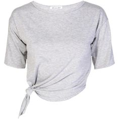 Tie Front Crop Top in Style of Rihanna Grey ($12) ❤ liked on Polyvore featuring tops, t-shirts, shirts, crop tops, grey tee, gray shirt, t shirts, gray tee y shirts & tops
