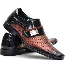 Sapato Social Confort Masculino Verniz Preto E Cobre