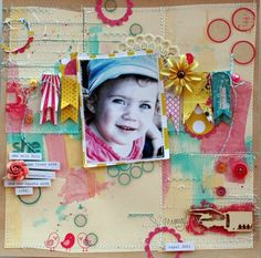 love the watercolors on this!  #scrapbooking
