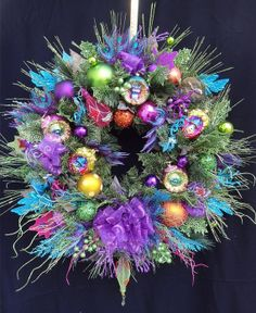 Christmas Wreath in Lime, Fuchsia, Teal, Orange and Purple, with handpainted whimsical ornaments