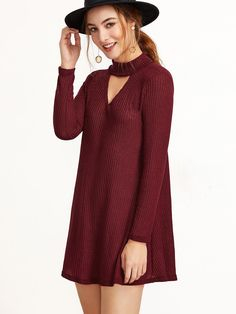 #ROMWE - #ROMWE Burgundy Mock Neck Cut Out Ribbed Dress - AdoreWe.com
