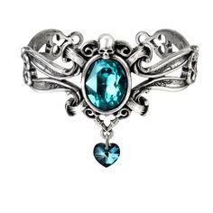 Alchemy Gothic The Dogaressas's Last Love Skull Heart Bracelet Cuff