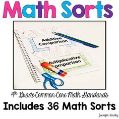 Math Sorts for Every 4th Grade Common Core Math Standard! This resource includes 36 sorts, one for each standard and substandard for 4th grade common core. These sorts work perfectly in an interactive notebook, but would also work in a center.