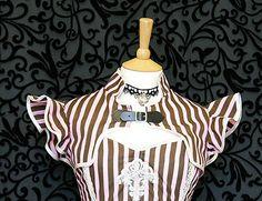 Candy stripe bolero/shrug goth #steampunk victorian #burlesque circus #ruffles ne, View more on the LINK: http://www.zeppy.io/product/gb/2/310403960816/