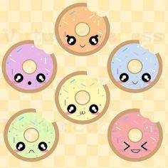 Imágenes Prediseñadas de kawaii Donut - donas Clip Art, postres, lindo, planificador, Chibi, Sprinkles, stcikers se Digital, divertido libre uso comercial y Personal