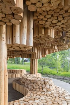 Architect Francis Kéré has completed work on Xylem, a new pavilion at the Tippet Rise Art Center in Montana that is fashioned from a collection of tree trunks. The pavilion, described as Architecture Durable, Pavilion Architecture, Wood Architecture, Futuristic Architecture, Sustainable Architecture, Residential Architecture, Contemporary Architecture, Natural Architecture, Chinese Architecture
