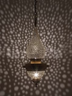 This pendant light has circular holes hand punched through the body and creates a stunning illuminate within and around the spaces the light inhabits. Moroccan Lamp, Moroccan Lanterns, Turkish Lights, Copper Art, Wall Lights, Ceiling Lights, Light Fittings, Brass Color, Light Decorations