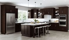 NuformCabinetry has the best kitchen cabinets for sale for every homeowner. From pre-assembled cabinets to RTA cabinets online, the company has a variety of designs and styles to choose from. We help customers organize their space effectively by helping them manage the storage of all items. #kitchencabinets #kitchen #KitchenDesign #kitchenideas #renovation #remodeling #highquality #wholesale #newlook #homedecore #bestdeals #modularkitchen #stylishlook #kitchenlove #barstools #kitchendecor Espresso Kitchen Cabinets, Kitchen Cabinets For Sale, Brown Cabinets, Kitchen Cabinet Styles, Shaker Cabinets, Rta Cabinets, Grey Kitchen Walls, Shaker Style Kitchens, Brown Kitchens