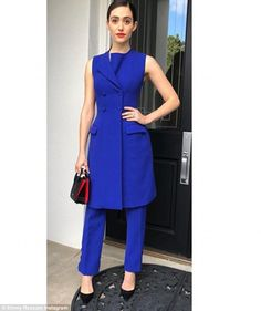Emmy Rossum dons blue at star-studded political event | Daily Mail Online