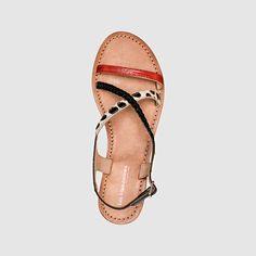 Sandales Horse, talon plat, cuir