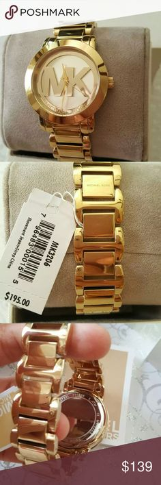 NWT Michael Kors Gold Tone Watch Selling out fast !! NEW with Tag. Come with box and a manual booklet  *Authentic** *Price is firm**LAST ONE   Case Size: 38 mm Case Thickness: 8 mm Band Width: 20 mm Water Resistant: 5 ATM  Style #:MK3206 Bold and graphic, this gold-tone watch steals the show with a steel case and shiny gold-tone topring, combined with a signature logo dial. Michael Kors Accessories Watches