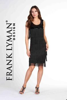 e6332d0697b8 Frank Lyman Design. Stylish little black dress with tiered fringe detail.  Flattering Dresses