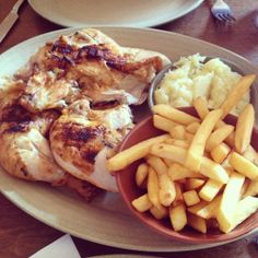 Grilled chicken + mashed potatoes and french fries = YUM!!!